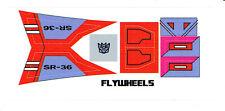 TRANSFORMERS GENERATION 1, G1 DECEPTICON FLYWHEELS REPRO LABELS / STICKERS