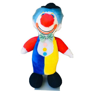"Vintage 18"" Plush Clown Circus Carnival Prize Red Yellow Blue Hair"