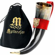Mythrojan The Tournament Champion - Viking Drinking Horn with Red Leather holder