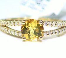 1.57CT 14K Gold Natural Yellow Emerald White Diamond Vintage Engagement Ring