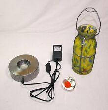 Shabby Chic - Design Glas Flasche Tischleuchte grün-gelb Halogen-Sockel Chrom