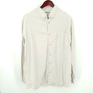 Columbia Long Sleeve Button Down Mens 2XL Long Sleeve 100% Cotton Shirt Khaki