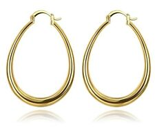 9ct Yellow Gold Filled Large Long Oval Flat Hoop Earrings Jewellery GIFT 4.4x3.4