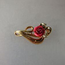Schwäbisch Gmünd: Brosche rote Rose Double um 1965 (40875)