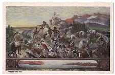 WESTWARD HO!  Painting Cowboys Wagon Train Emanuel Leutze Vintage Postcard Scout