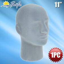 New Male Styrofoam Foam Grey velvet Mannequin head display wig hat glasses 1pc
