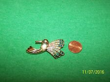 Signed Monet Humming Bird brooch pin goldtone
