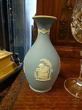Late 19th Century Wedgwood Pale Blue Dip Classical Vase 5.25''   1 of  2