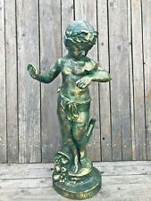 Large Garden Cast Iron Statue of a Cherub and Butterfly summer