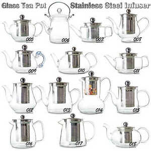 Elegant Handmade Elegant Glass Tea Pot with Stainless Steel Tea Water Infuser
