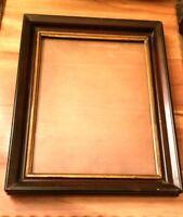 Antique Dark Wood Gold Gilt Deep Well Picture Frame Wooden Back