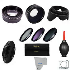 WIDE ANGLE MACRO LENS + TELEPHOTO ZOOM LENS + HD FILTER KIT FOR Lumix DMC-FZ300