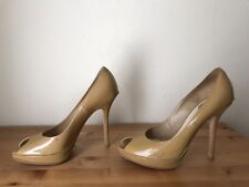 Christian Dior Miss Dior nude patent leather peeptoe platform pumps shoes 38/8