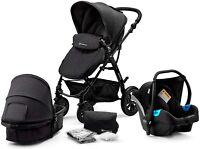 Kinderkraft Pram 3 in 1 Baby Stroller Pushchair Buggy Car Seat Infant Carrier UK
