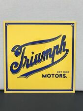 rare Triumph motos  vintage british advertising sign baked