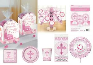 Girls 1st First Holy Communion Party Tableware Decorations Royal Pink collection