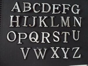 letters alphabet patches iron / sew on black sparkle silver names clothes crafts