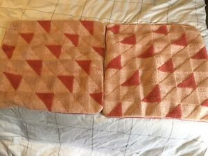 """Set Of 2 West Elm Crewel Poppy Pink Triangle Geo 20"""" Square Pillow Covers"""