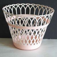 "1950s Woven Pink Plastic Vanity TopBasket Retro mid century 5"" FREE SH"