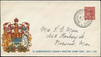 Canada 1942 COMMEMORATIVE WARTIME Cover WINNIPEG to NORWOOD, MAN, with SCTT #251