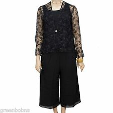 New Silhouettes Woman 3pc Lace Jacket with Chiffon Top, Capri Set Size 14W