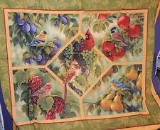 Birds Cotton fabric panel 30x37 inches