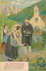 Prägekarte das letzte Edelweiss, Frau legt Edelweiss auf Grab    (D14)