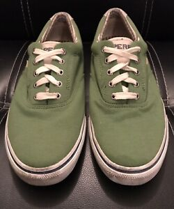 Sperry Top Slider Lace Up Green Canvas Sneakers