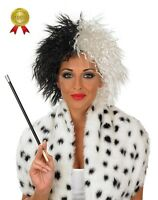 EVIL DOG LADY WIG BLACK WHITE CRUELLA DEVILLE BOOK WEEK FANCY DRESS COSTUME