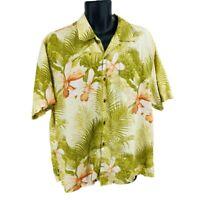 Tommy Bahama Mens Hawaiian Shirt Multicolor Green Short Sleeve Linen Size  XL