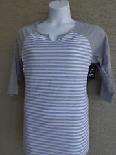 NWT Just My Size 2X  X-Temp Fabric 3/4 Raglan Sleeve Notch Neck Striped Tee Top