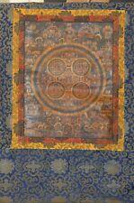 Thangka, Tibet, Mandala, feine Goldmalerei, Seidenbrokatmontierung, 63x105cm