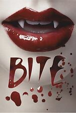 HORROR T SHIRT SHE VAMPIRE BITE HALLOWEEN COSTUMES BLOOD SEXY LIPS FANGS GOTH