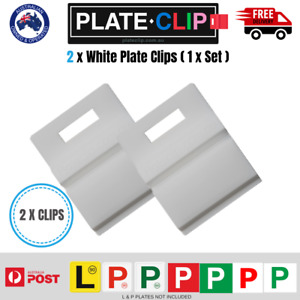 2 x White L & P Plate Holders | Clip it On for Number Plates | FREE Postage