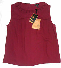 Nw3 Hobbs Willow Embroidered Top Russet Dark Red Size 14 BRAND Nes