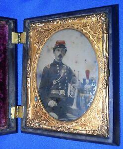 Antique FANTASTIC LG. CIVIL WAR TINTED AMBROTYPE IMAGE BUGLER