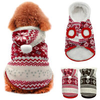 Christmas Dog Winter Hoodie Clothes Warm Fleece Jacket Coat for Small Medium Dog