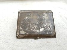 Old Early Rare Hand Carved Taj Mahal/Couple Selling Fish Brass Cigarette Case