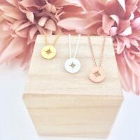 Damen Halskette Kompass Navi Himmelsrichtung Gold Silber Rosegold Edelstahl