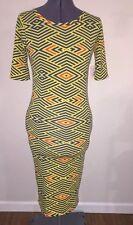 NWT LulaRoe Julia XS Yellow Blue Geometric Print Dress Long T Shirt Soft Comfy