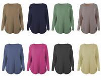 New Womens Italian Lagenlook Knitted Scoop Neck Wool Angora Curved Hem Jumper