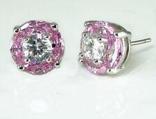 Light Pink Clear CZ Post Earrings Halo Silver Rhodium Brass Stud Petite Sparkle
