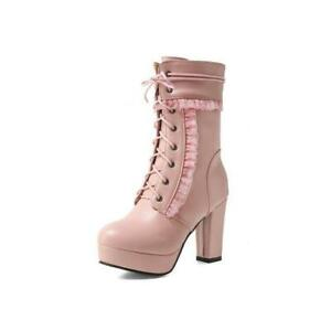 Womens Lace Mid-calf Boots Strappy High Heels Side Zip Round Toe Platform Shoes