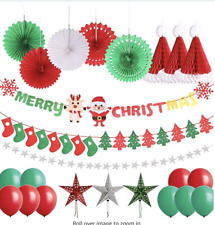 25 Pcs Merry Christmas Party Decorations Christmas Sock Tree Banner Hanging Pape