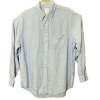 Brooks Brothers Mens Blue White Linen Long Sleeve Button Down Up Shirt Sz XLarge
