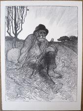 Lithographie de Théophile Steinlen, Chemineau assis, 1913