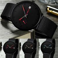 CRRJU Men Fashion Military Stainless Steel Watch Date Sport Quartz Wrist Watches