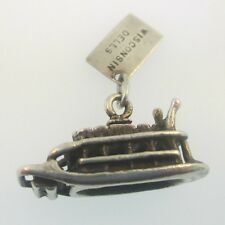 Dells Paddle Boat Charm Bell Sterling Silver Vintage Wisconsin