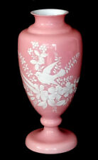 Victorian ANTIQUE Vintage MARY GREGORY Style OPAQUE PINK GLASS Vase ENAMEL BIRD