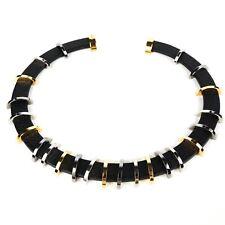 Fendi - New - Necklace - Black Leather Collar - Gold & Silver Hardware - Choker